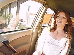 Sexy redhead Kassondra Raine gets picked up by dude and fucked