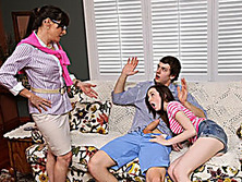 Stepmom in glasses threesome with teens