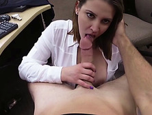 Busty blonde Agent woman gets fucked hard by the pawnshop owner