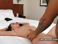 Model Adriana strips and takes cock up slit