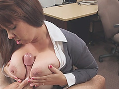 Pounding a big titted milf and splattering her face with a sticky jizz