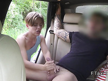 Short haired brunette fucks huge dick in taxi