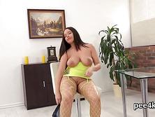 Stunning sweetie is pissing and masturbating hairless vulva