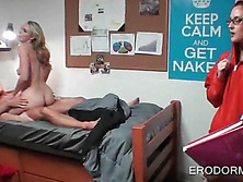 College blonde riding shaft in her dorm room
