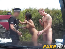 Ebony cop fucks her partner and another dude in the public