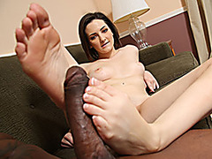 Tegan Mohr Uses Her Feet To Make A BBC Cum