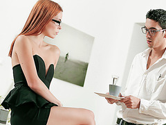 Lucky nerd gets seduced by sexitary