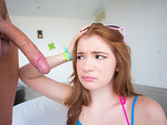 Cute red head teen Ava Sparxxx enjoys riding on gigantic stiff cock in reverse cowgirl
