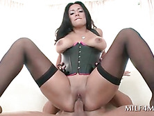 Stockinged sexy MILF loves to fuck hardcore