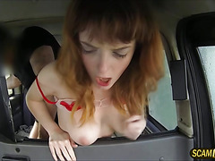 Shy pretty redhead babe gets banged and rewarded a hot messy cum