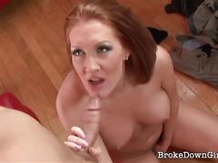 Amateur redhead seduces a horny guy on the street