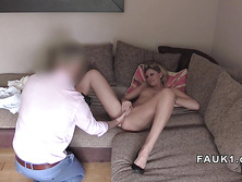 British blonde ass and cunt fingered in casting