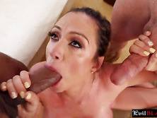 Amazing big boobed MILF suck two massive cocks
