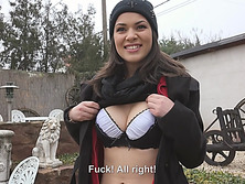 Beautiful Suzy Bell flashes her titties in public and gets slammed for cash
