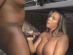 Lusty mature whore Amber Lynn Bach fucks black guy in prison cell