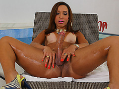 Sweet tranny Gabrielli Bianco loves her big tits