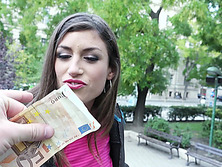 Spanish babe Julia Roca follows a stranger to fuck for cash