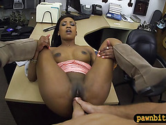 Ebony fucked by pawn keeper in exchange of golf clubs