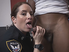 Horny cop babes sharing a big black cock in an incredible interracial threesome action