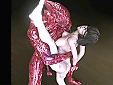 3d anime brutally red monster fucked ass and pussy