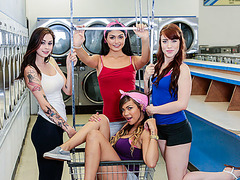 Laundry sex trip gets nasty fast when these ladies get horny