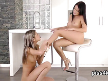 Innocent teenie is geeting peed on and ejaculates wet honey pot