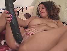 Massive black dildo prepares MILF's cunt for real cock