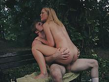 Pale Blonde Teen Raylin Ann Fucks Horny Creep On Park Bench