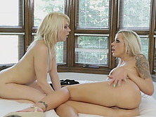 Tara And Nina Lesbian Blondes Strap On Doggy Style