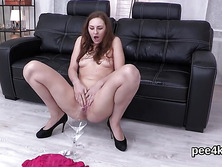 Glamorous kitten is pissing and pleasing hairless slit