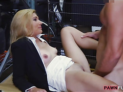 Horny milf pawns her pussy and gets fucked in storage room
