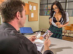 Natural busty schoolgirl Anya Ivy fucks her prof for grades