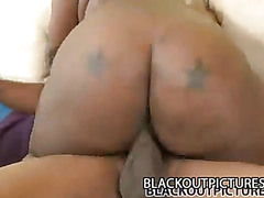 Chubby black babe gets her pussy pleasured