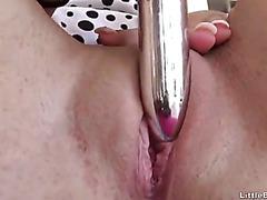 Brunette Cutie Shoves A Dildo Up Her Twat
