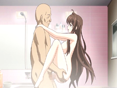 Bald guy anime standing fucked a busty coed in the bathroom