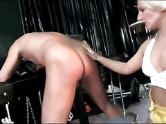 Horny slave gets spanked really good