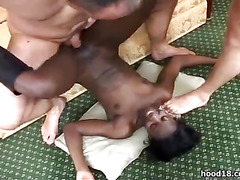 Horny black girl sucking 3 white cocks