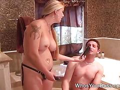 Tattooed femdom dominating a guy