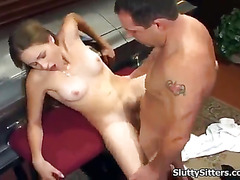 Babysitter shows off her blowjob skills