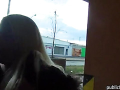 Real amateur blonde eurobabe Yenna railed in carpark for cash