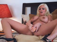 Horny Blonde Fucks a Big Dildo