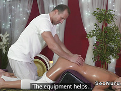 Massage couple fucking at work place