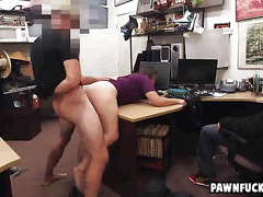 Smart college brunette gets bent over and pounded from behind