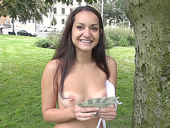 Cute Lili Devil flashes her boobs in public and agrees to get laid for cash
