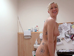 Victoria Waigel gets her pussy rammed  before her tattoo session begins