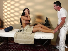 Very tricky massage bedroom of horny masseur