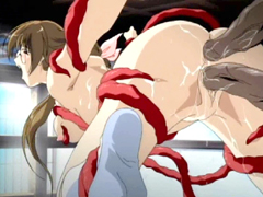 Japanese hentai brutally ass and pussy drilled by tentacles