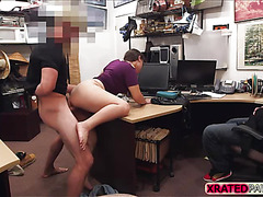 Hot sexy brunette thief gets punished