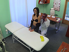 Brunette cleaning lady gets a full health check and gets banged hard in the table