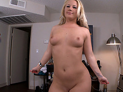 Damn hot Kimmy Olsen shows off her very perfect natural tits and gets pussy fucked